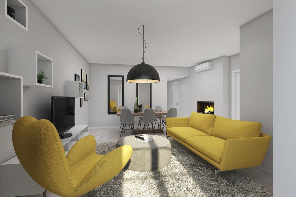 fotografia 3d interior sala marketing imobiliario Signimo